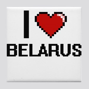 I Love Belarus Digital Design Tile Coaster